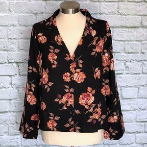 NWT BP Notched Collar Floral Print Top Black